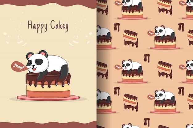 Милая панда поверх торта бесшовные модели и карты