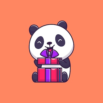 Cute panda opening birthday