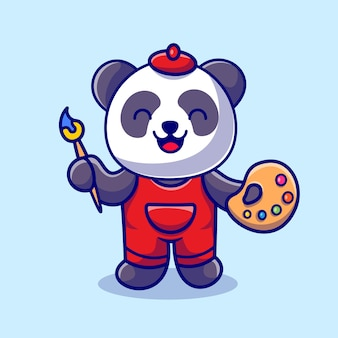 Cute panda painting cartoon vector icon illustration. animal art icon concept isolated premium vector. flat cartoon style