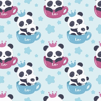 Cute panda pattern for children fabric wallpaper and many more
