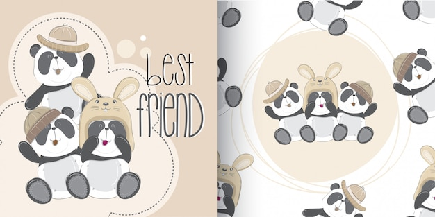 Cute panda pattern set, hand draw illustration-vector