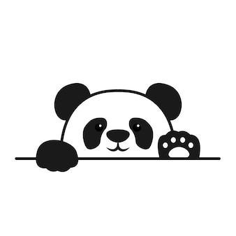 Cute panda paws up over wall, panda face cartoon icon