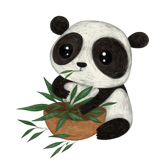 かわいいパンダ鉛筆カラーイラスト