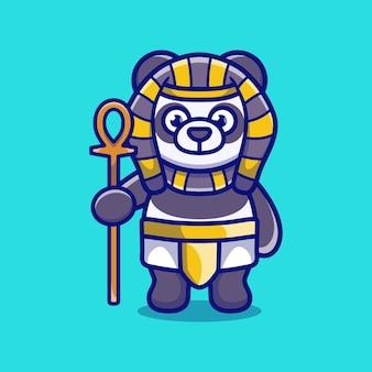 Симпатичная панда-фараон с палкой