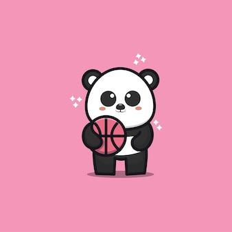 Cute panda play basketball cartoon   illustration