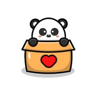 Cute panda play in box cartoon illustration