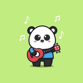 Cute panda play guitar