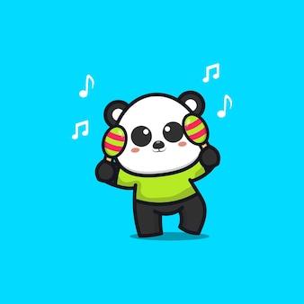 Cute panda play music instrument