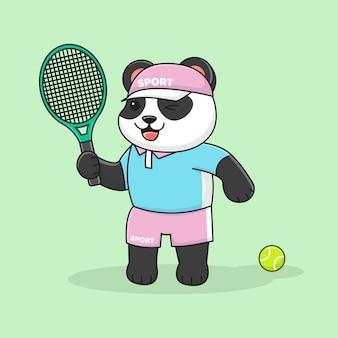 Милая панда играет в теннис в шляпе