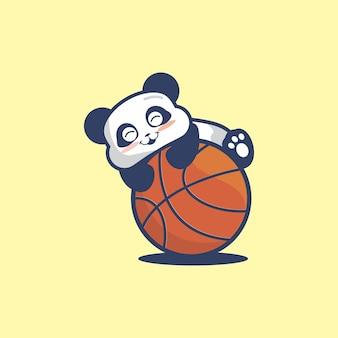 Cute panda playing basket bal