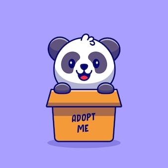 Cute panda playing in box cartoon icon illustration. animal nature icon concept premium. flat cartoon style