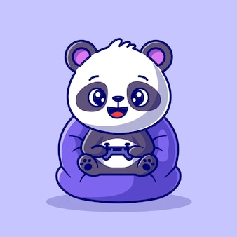 Cute panda playing game cartoon vector icon illustration. animal technology icon concept isolated premium vector. flat cartoon style