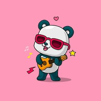 핑크에 고립 된 기타 연주 귀여운 팬더