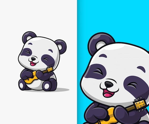 귀여운 팬더 기타 연주. 팬더 마스코트 만화 캐릭터.