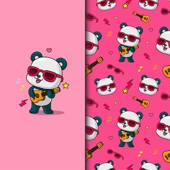 Cute panda playing guitar. seamless pattern.