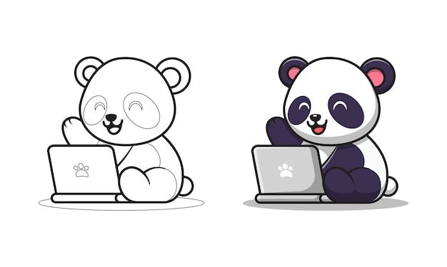 Раскраски милая панда играет на ноутбуке