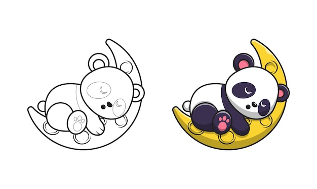 Милая панда играет на луне мультяшныйа для раскраски