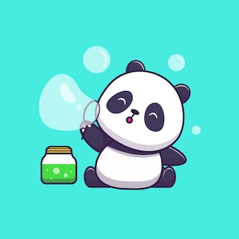 Cute panda playing soap bubble