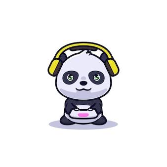 비디오 게임 일러스트를 재생하는 귀여운 팬더