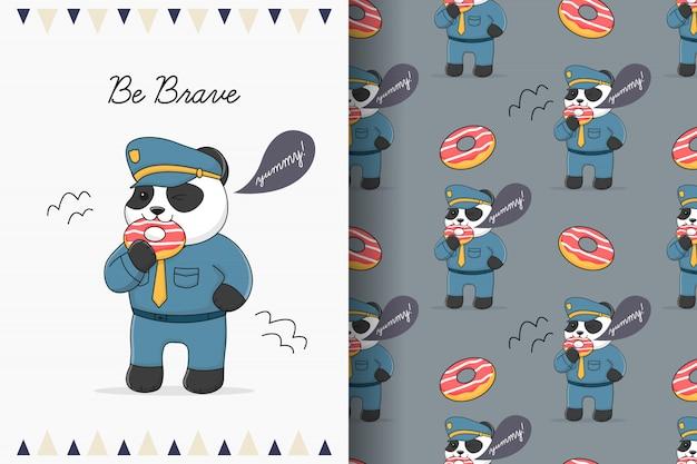 デザートのシームレスなパターンとカードを食べるかわいいパンダの警察