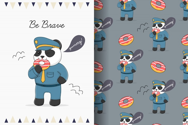 Cute panda police eating dessert seamless pattern and card