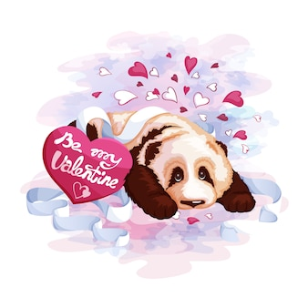 Cute panda and postcard heart. valentine's day.