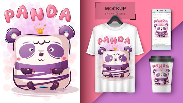 Cute panda poster and merchandising