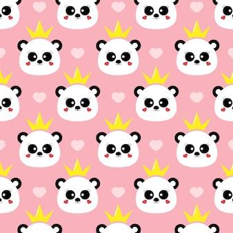 Cute panda princess seamless pattern