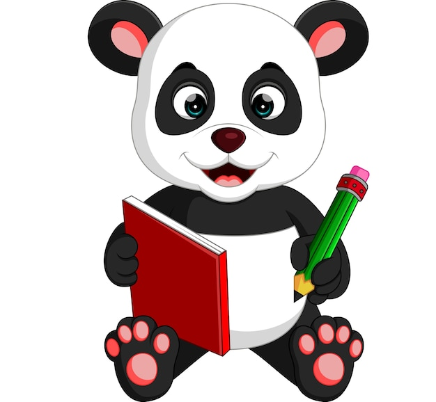 Симпатичная панда, читающая книгу