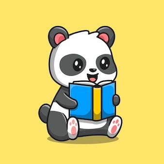 Симпатичная панда, читающая книгу мультяшныйа. концепция значок образования животных изолированы. плоский мультяшном стиле