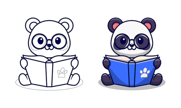 Cute panda reading book cartoon coloring pages for kids