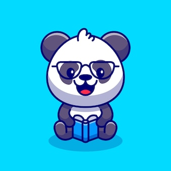 Cute panda reading book cartoon icon illustration.