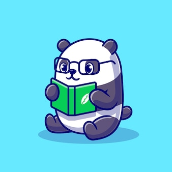 Cute panda reading book cartoon