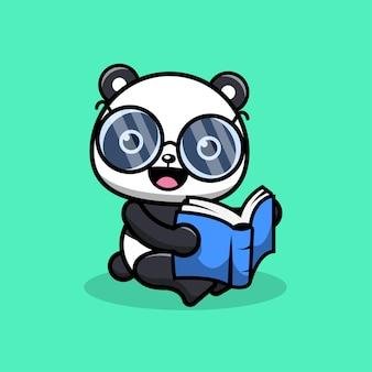 Cute panda reading book with eyeglasses cartoon character illustration