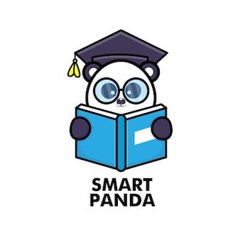 Cute panda reading book with eyeglasses and graduation cap