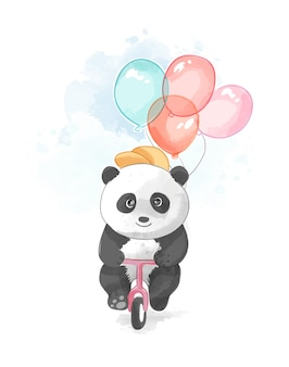 Cute panda riding bicycle with balloons
