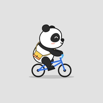 Cute panda riding bike