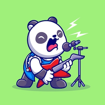 Cute panda rocker sing with guitar cartoon vector icon illustration. animal music icon concept isolated premium vector. flat cartoon style