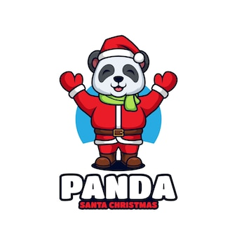 かわいいパンダサンタクロースコスチュームクリスマス