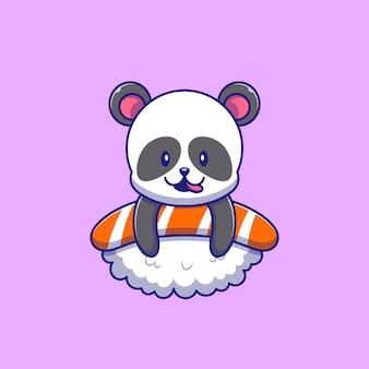 스시 일러스트 위에 맛있는 것을 즐기는 귀여운 팬더. 팬더 마스코트 만화 캐릭터 절연