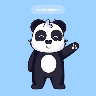 Cute panda say hello cartoon vector icon illustration