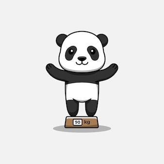 Cute panda on the scales