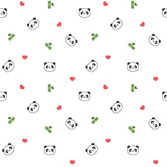 かわいいパンダのシームレスなパターンの背景