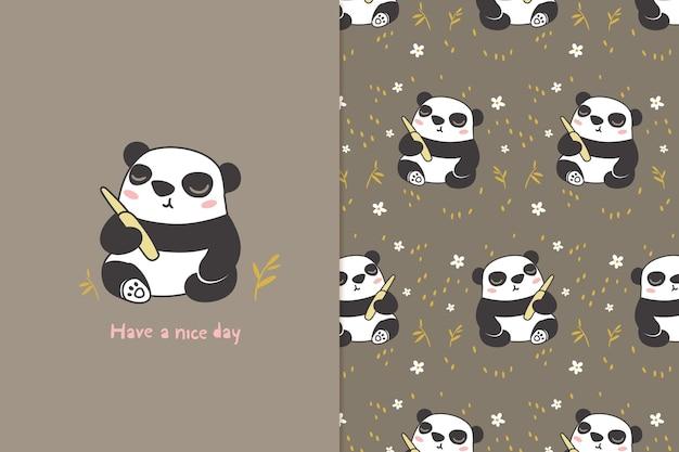 Cute panda and seamless pattern