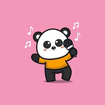 Cute panda singing cartoon   illustration