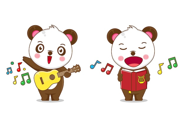 Cute panda singing and playing guitar isolated