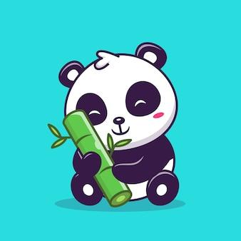 Милая панда сидит и держит бамбуковый значок иллюстрации. концепция значок любви животных.