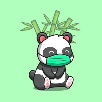 Милая панда сидит и носит маску с бамбуковой мультяшный векторные иллюстрации. концепция животной природы изолированы premium векторы. плоский мультяшном стиле