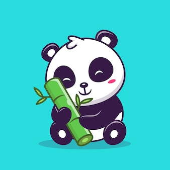 Cute panda sitting and holding bamboo   icon illustration. animal love icon concept   .