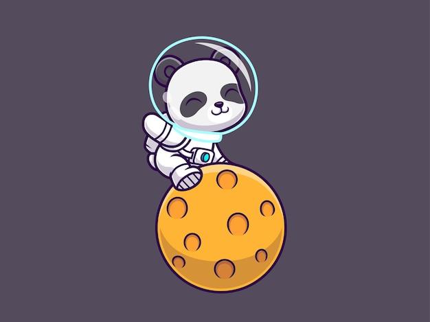 Cute panda sitting on planet space cartoon